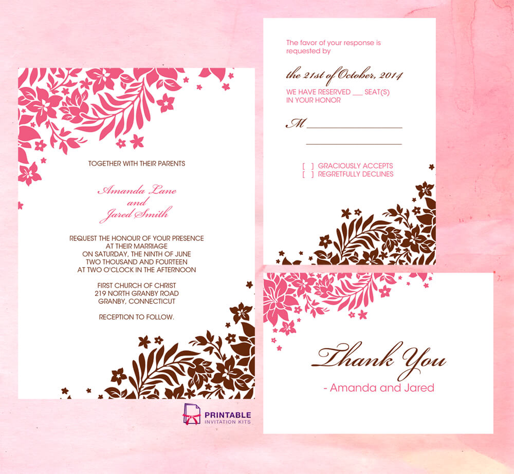 Foliage Borders Invitation, Rsvp And Thank You Cards Pertaining To Free Printable Wedding Rsvp Card Templates