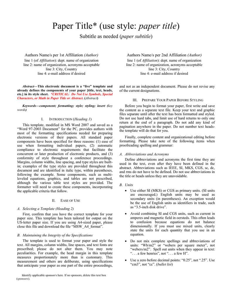 Formato Ieee Archivo | Manualzz Inside Ieee Template Word 2007
