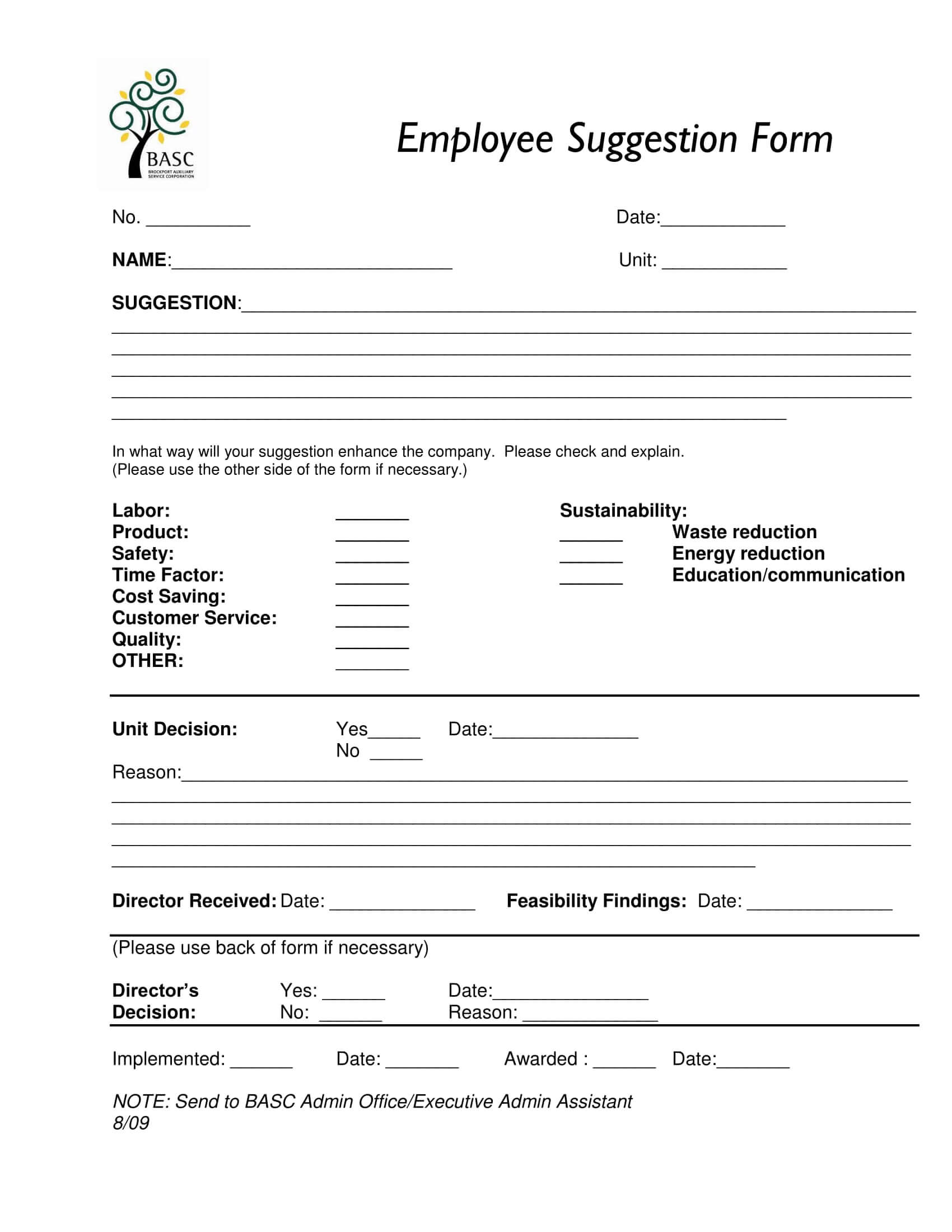 Free 14+ Employee Suggestion Forms In Word | Excel | Pdf Pertaining To Word Employee Suggestion Form Template