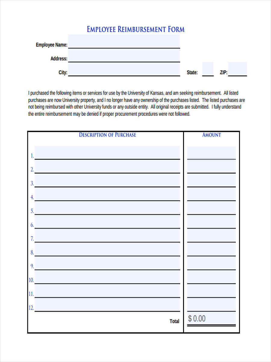 Free 8+ Sample Request For Reimbursement Forms In Word | Pdf For Reimbursement Form Template Word