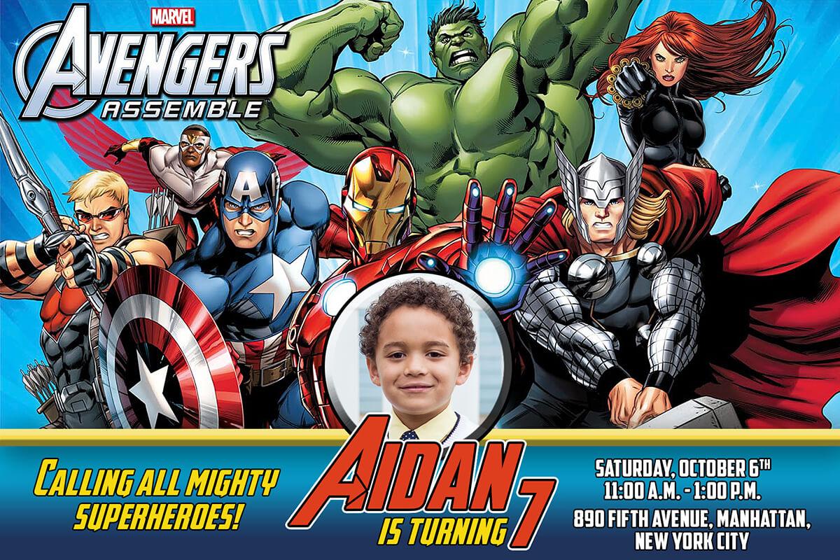Free Avengers Birthday Invitation   Dioskouri Designs With Avengers Birthday Card Template