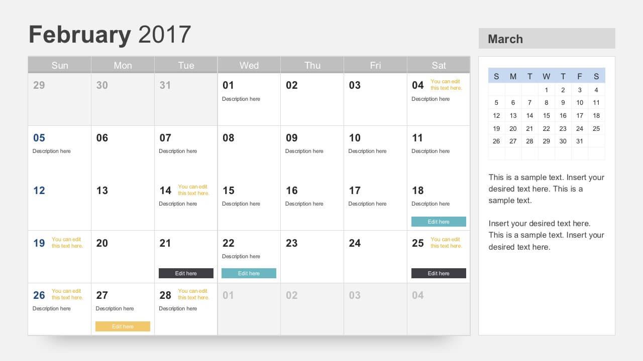 Free Calendar 2017 Template Regarding Microsoft Powerpoint Calendar Template
