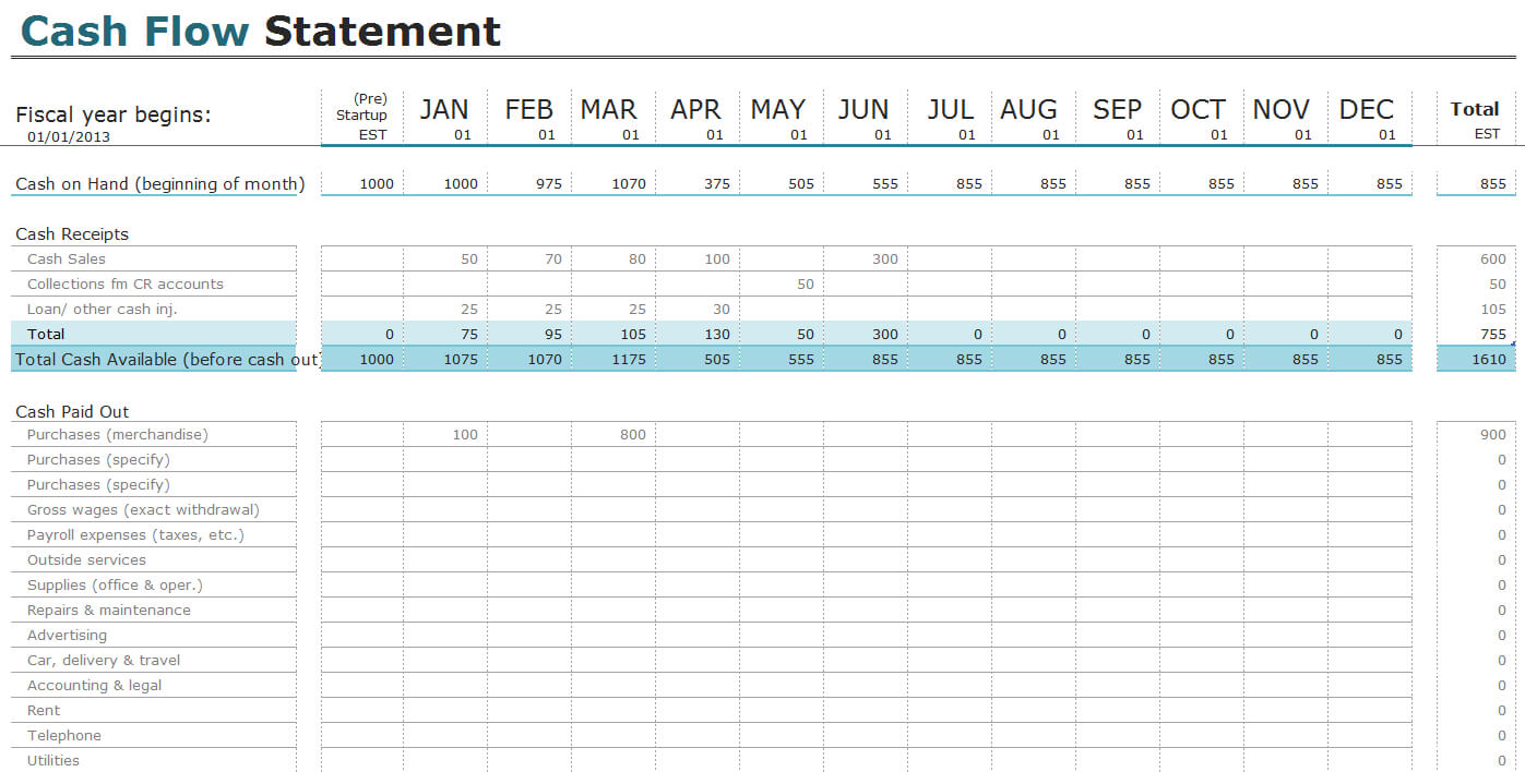 Free Cash Flow Statement Templates For Excel   Invoiceberry Throughout Cash Position Report Template