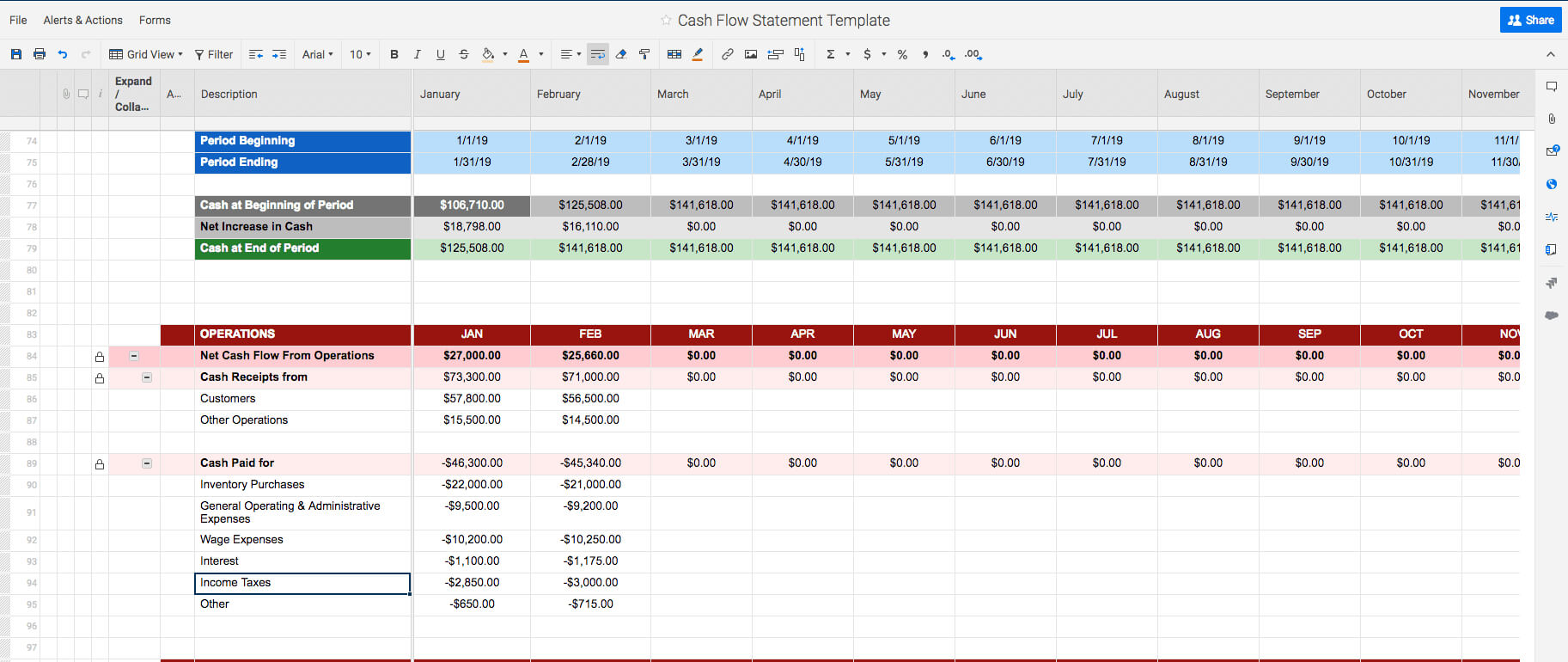 Free Cash Flow Statement Templates   Smartsheet Intended For Cash Position Report Template