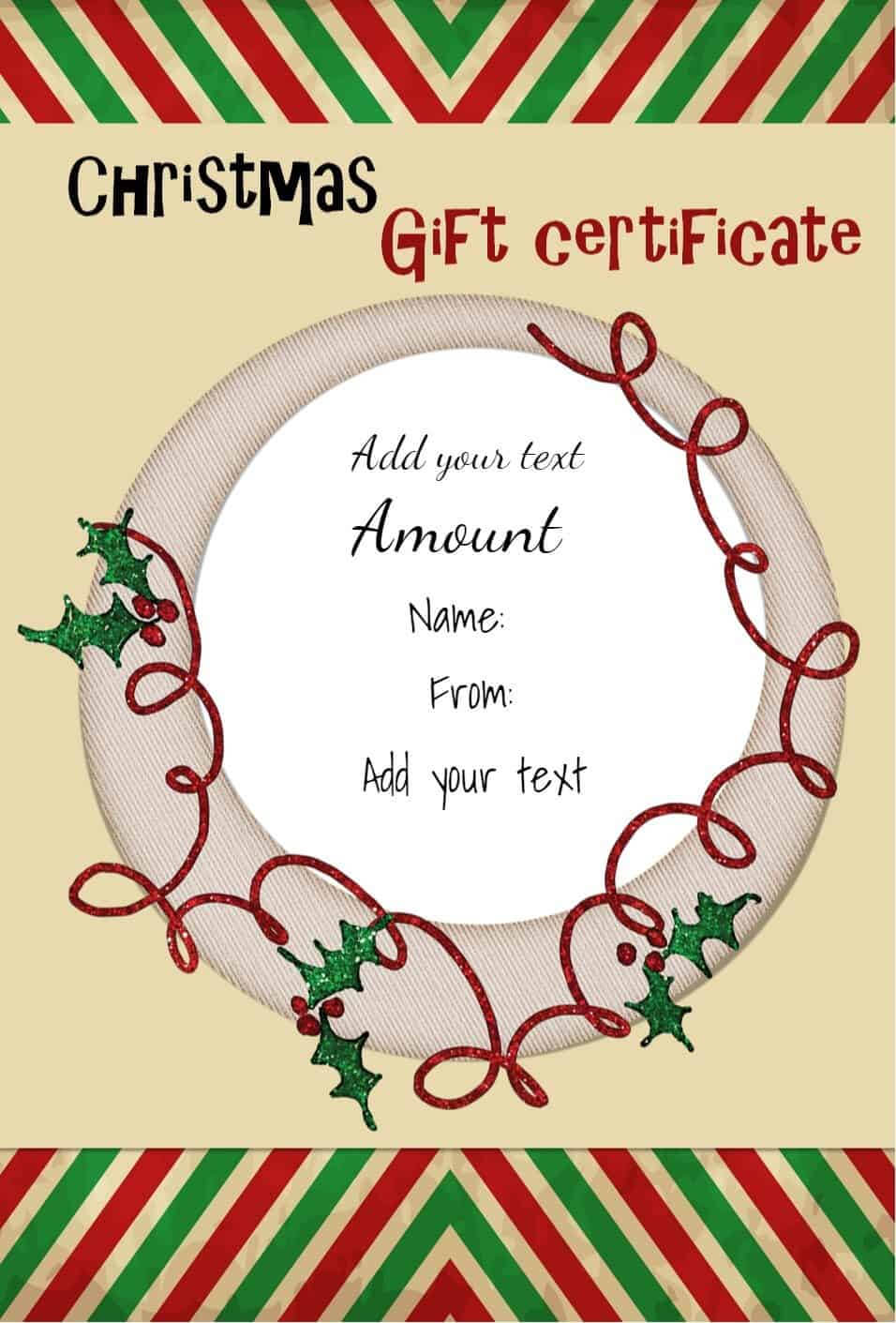 Free Christmas Gift Certificate Template | Customize Online Pertaining To Free Christmas Gift Certificate Templates