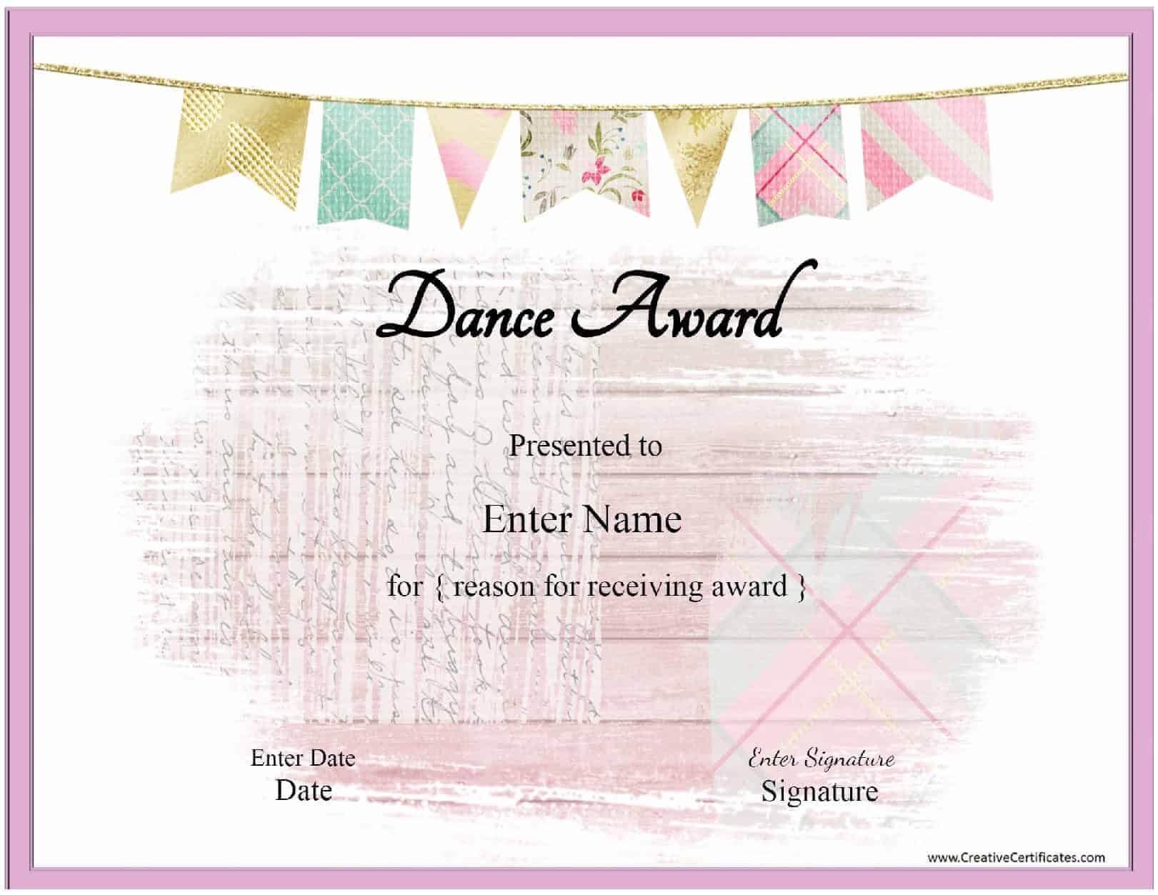 Free Dance Certificate Template - Customizable And Printable Pertaining To Dance Certificate Template