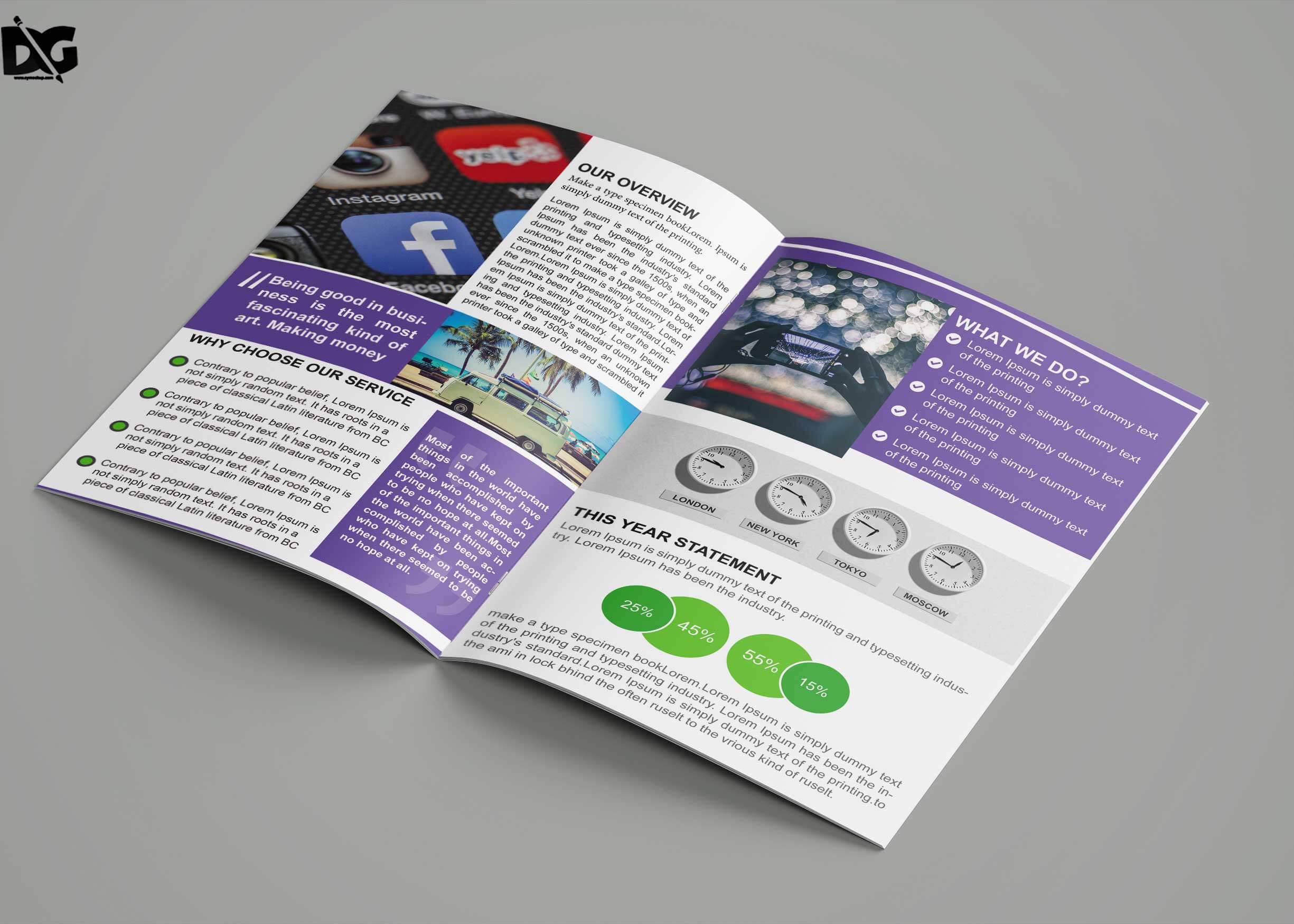 Free Download Bi Fold Social Media Company Brochure Template In Social Media Brochure Template
