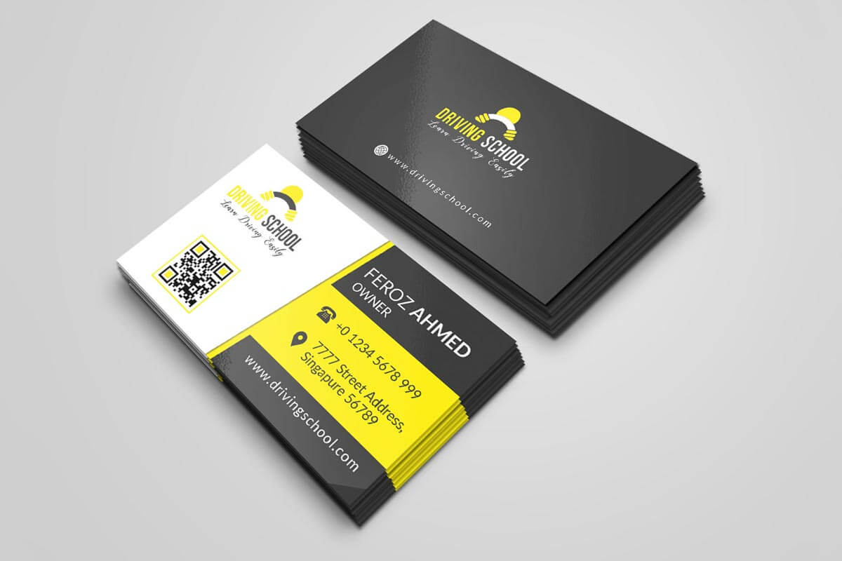 Free Driving School Business Card Psd Template – Creativetacos Within Create Business Card Template Photoshop