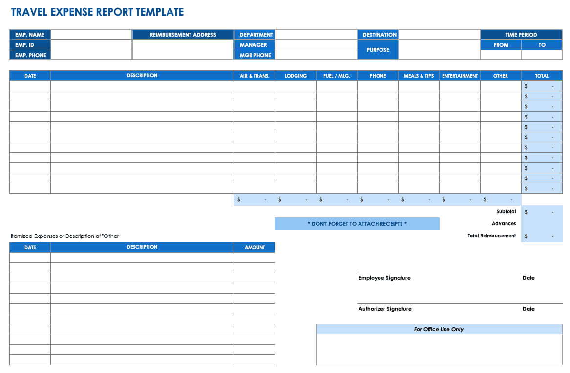 Free Expense Report Templates Smartsheet With Regard To Monthly Expense Report Template Excel