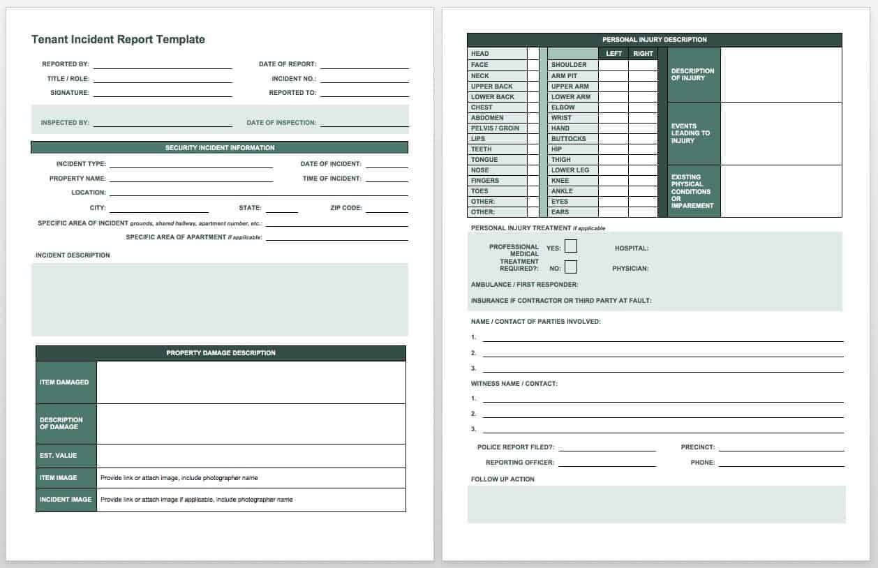 Free Incident Report Templates & Forms | Smartsheet Within Insurance Incident Report Template