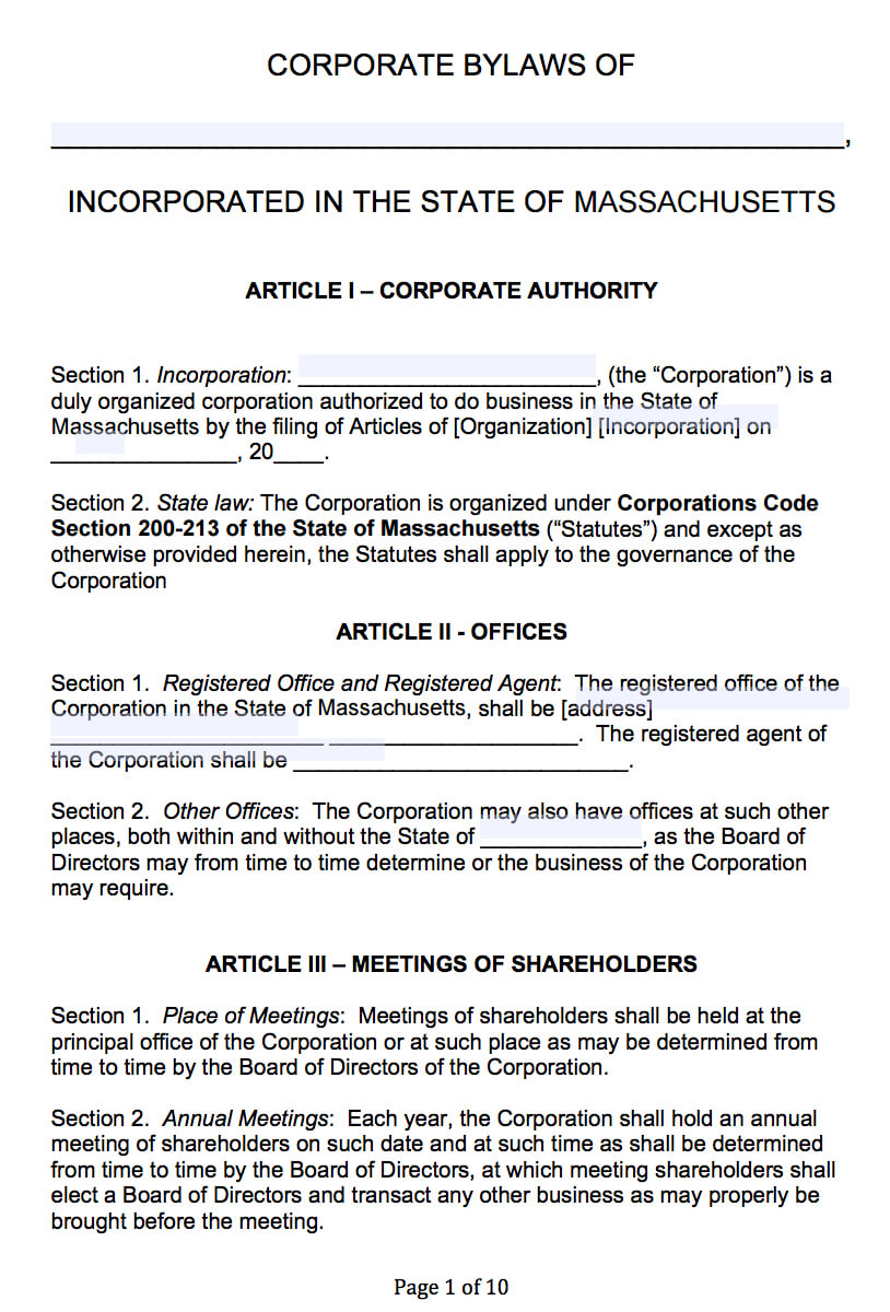 Free Massachusetts Corporate Bylaws Template | Pdf | Word | With Regard To Corporate Bylaws Template Word