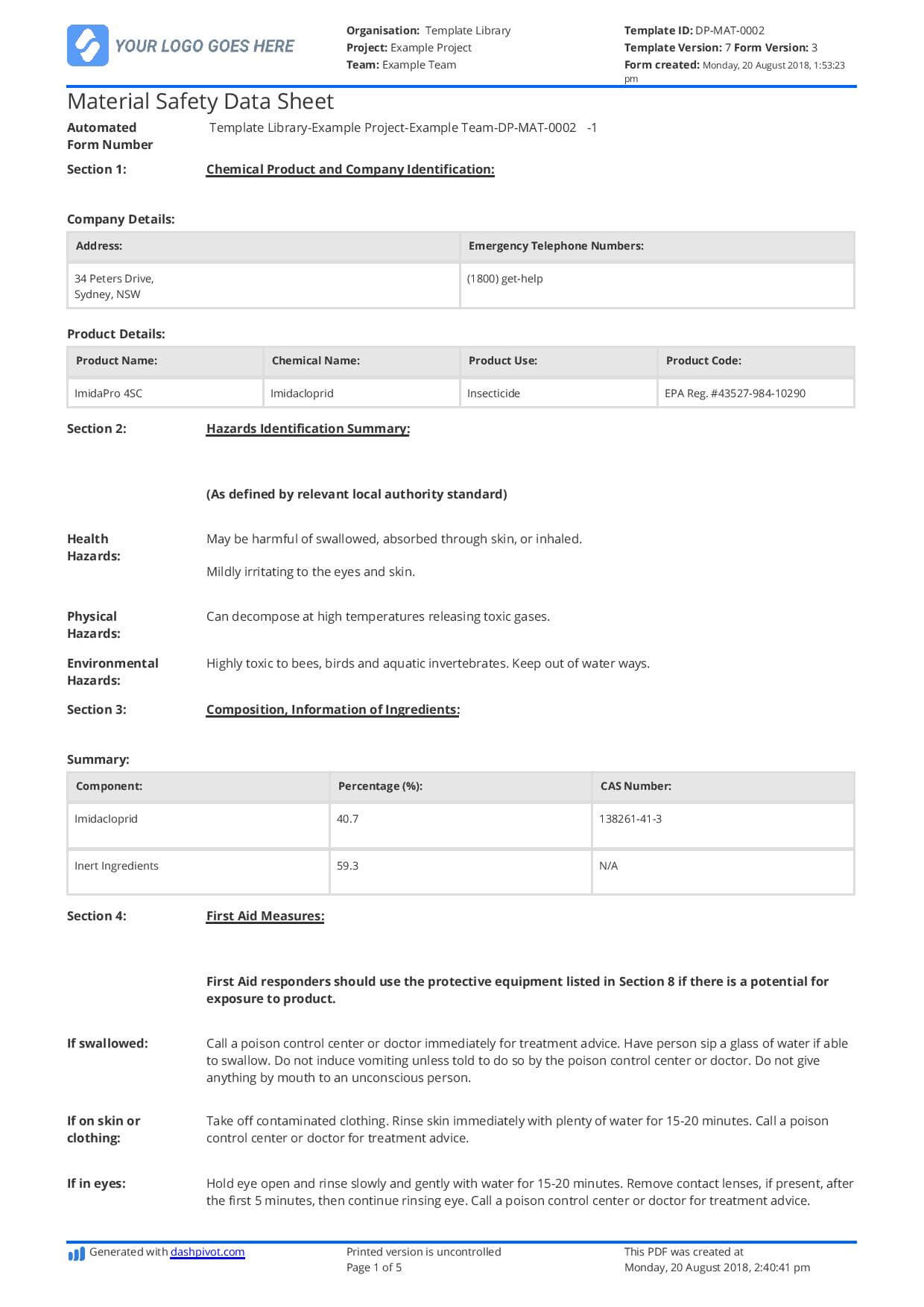Free Material Safety Data Sheet Template (Better Than Word Within Datasheet Template Word