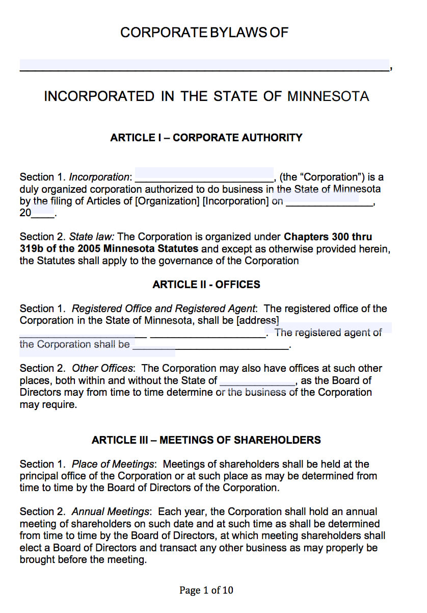 Free Minnesota Corporate Bylaws Template | Pdf | Word | Pertaining To Corporate Bylaws Template Word