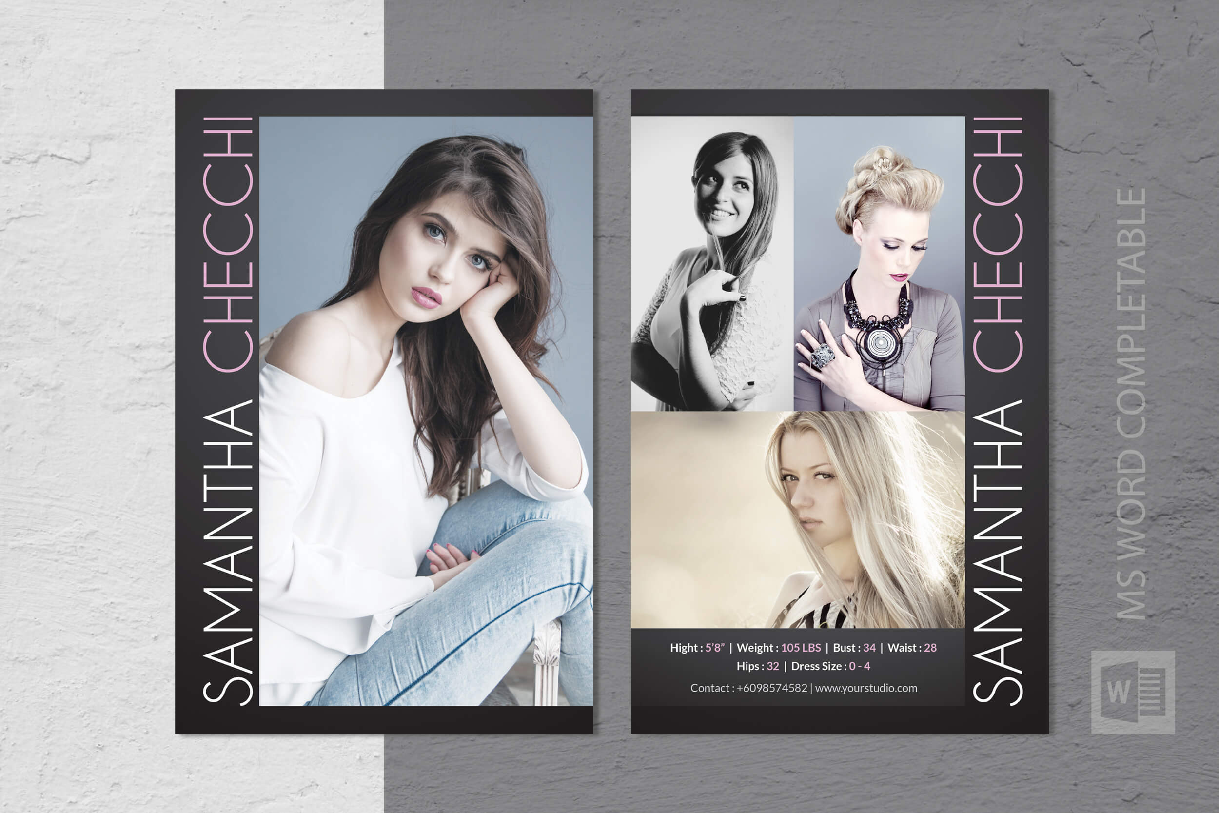 Free Model Comp Card Templates - C Punkt For Zed Card Template Free