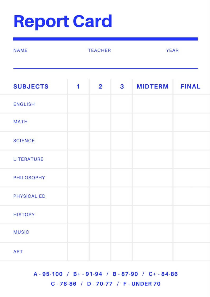 Free Online Report Card Maker: Design A Custom Report Card In Result Card Template
