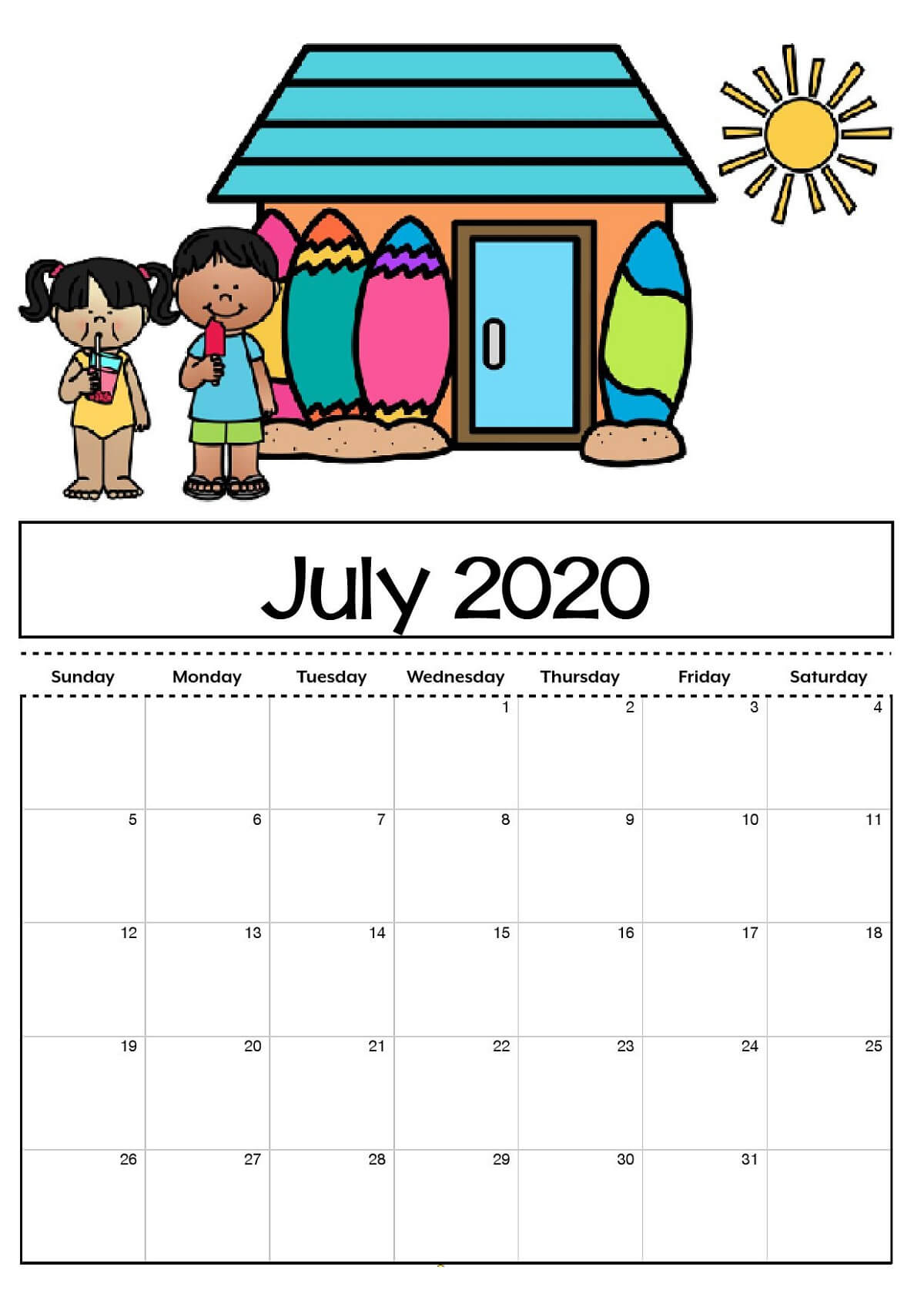 Free Printable Calendar Templates 2020 For Kids In Home For Blank Calendar Template For Kids