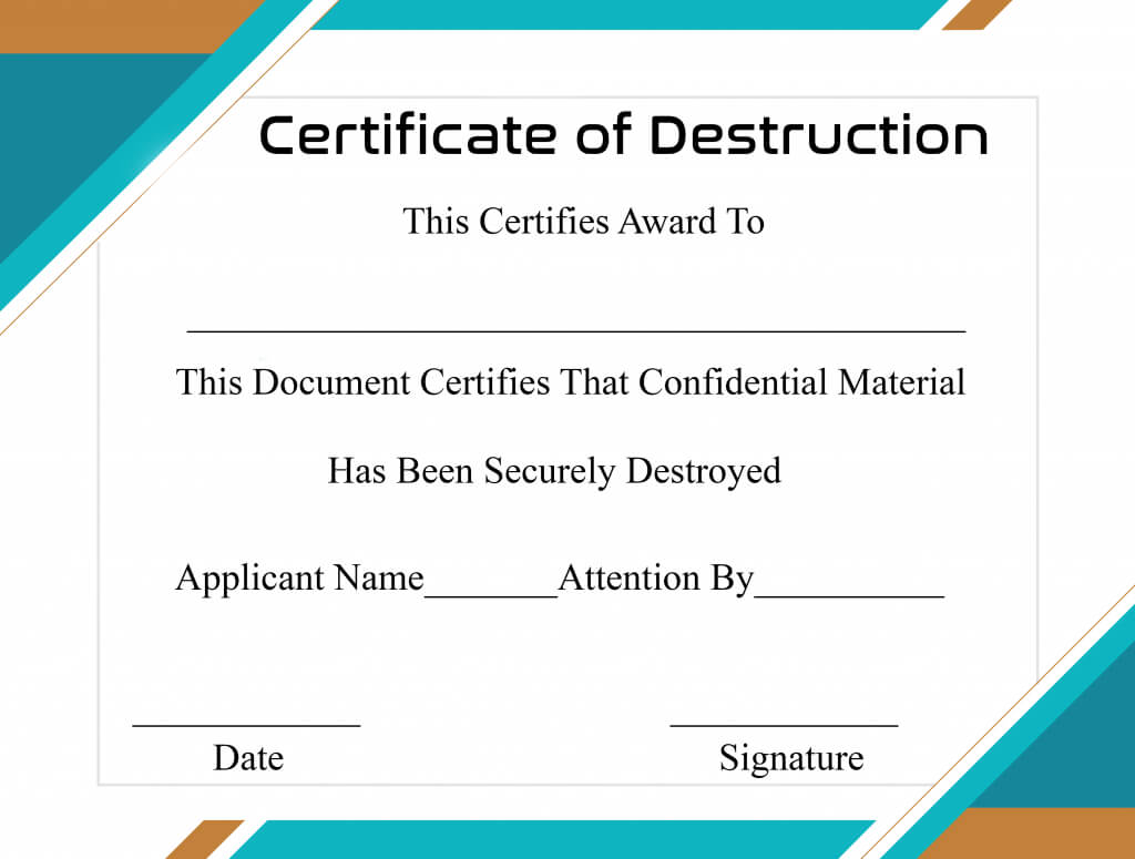 Free Printable Certificate Of Destruction Sample For Destruction Certificate Template