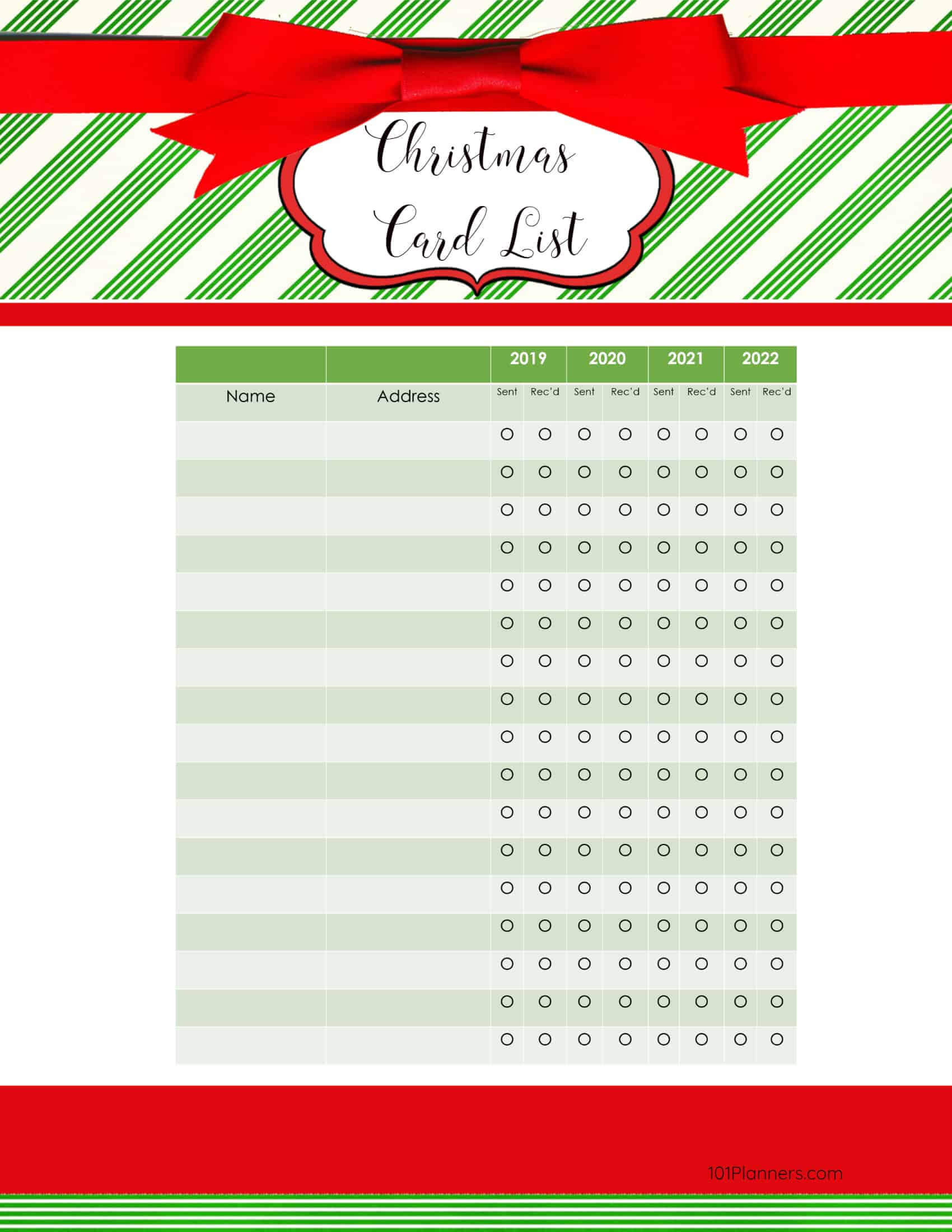Free Printable Christmas Gift List Template Throughout Christmas Card List Template