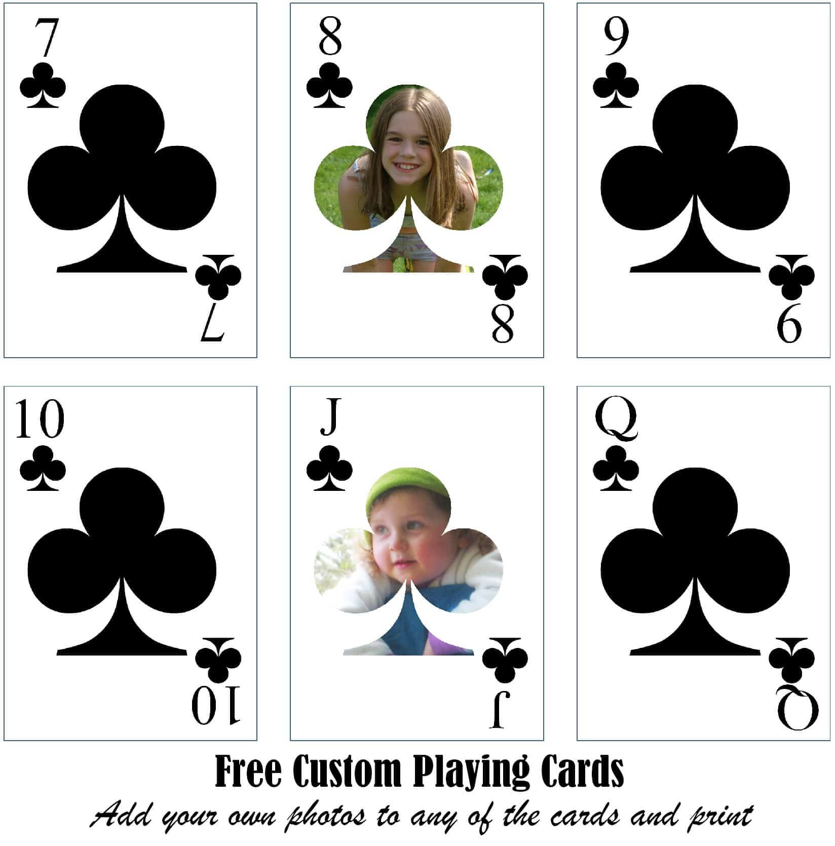 Free Printable Custom Playing Cards | Add Your Photo And/or Text Inside Custom Playing Card Template