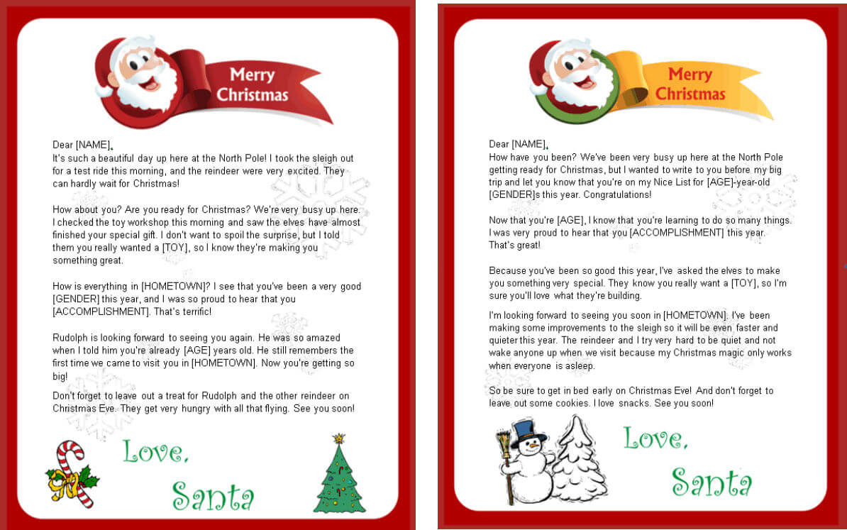 Free Printable Letter From Santa Word Template – Christmas Inside Santa Letter Template Word