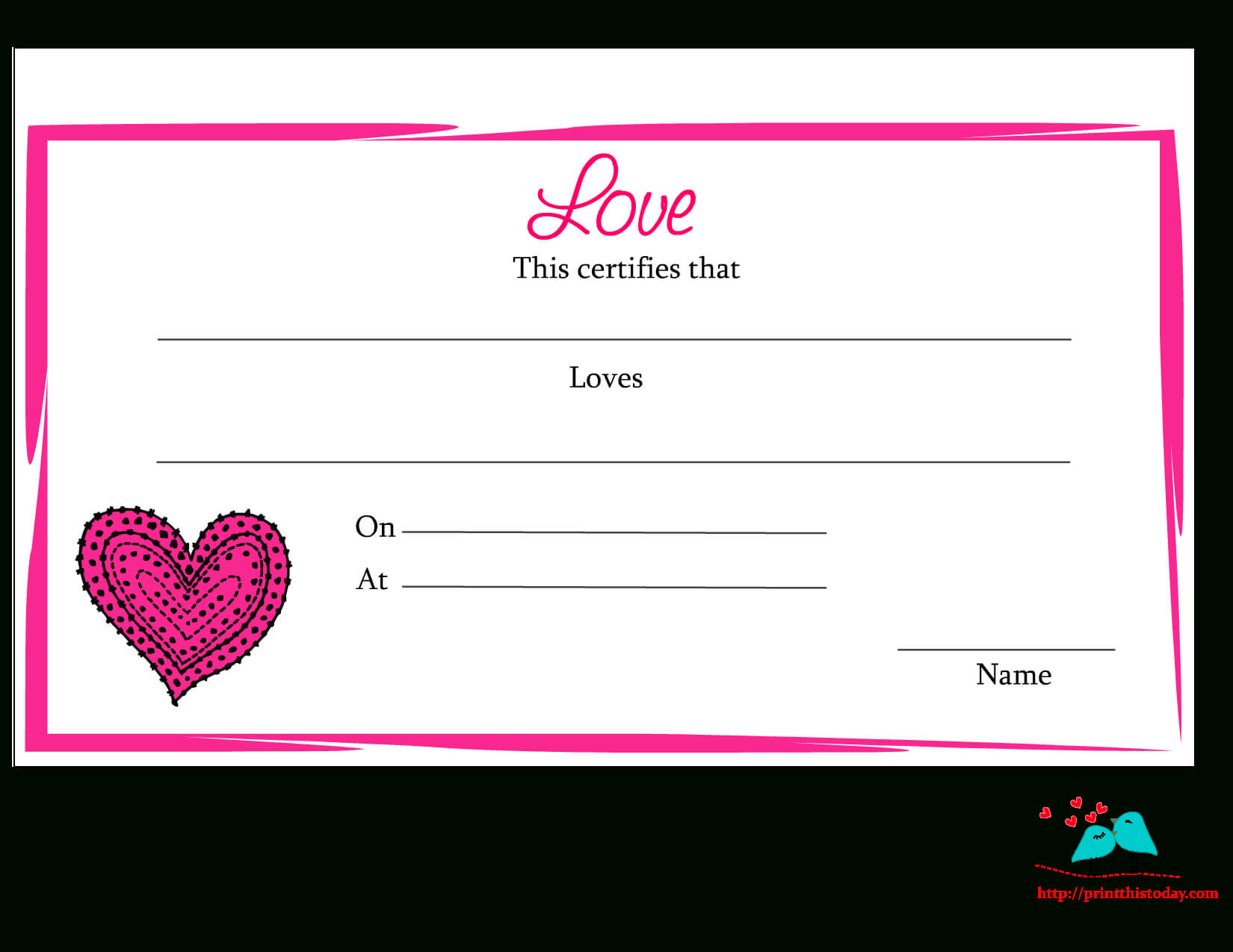 Free Printable Love Certificates With Love Certificate Templates
