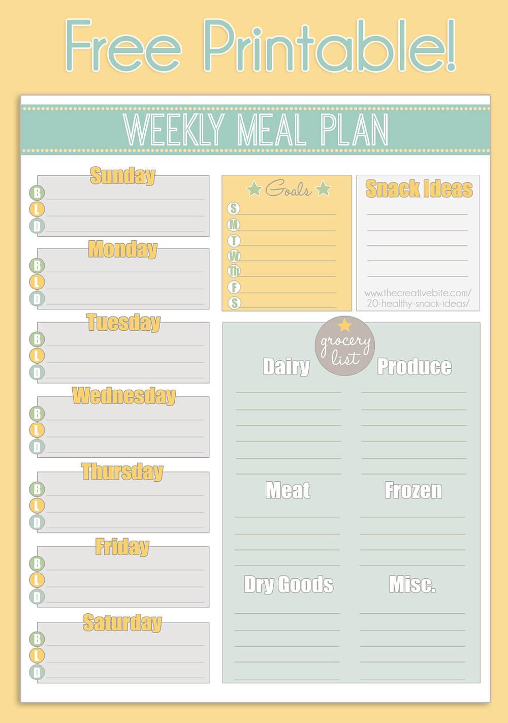 Free Printable Weekly Meal Planner + Calendar Pertaining To Blank Meal Plan Template