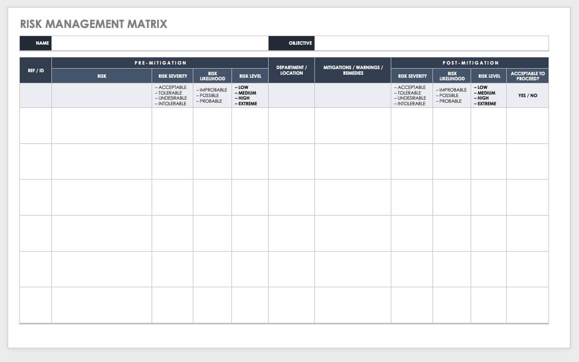 Free Risk Management Plan Templates | Smartsheet Intended For Risk Mitigation Report Template