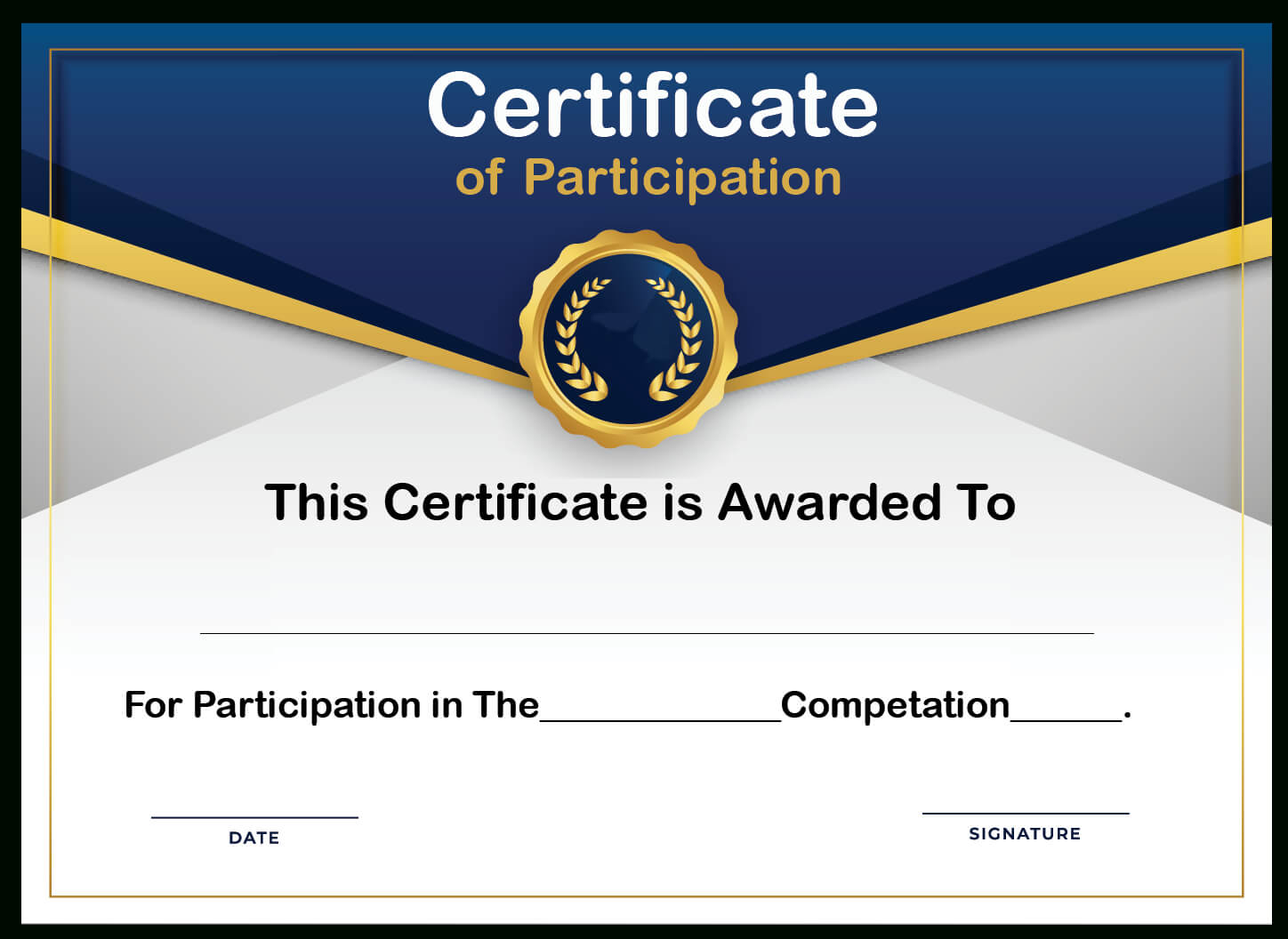Free Sample Format Of Certificate Of Participation Template Regarding Certificate Of Participation Template Doc