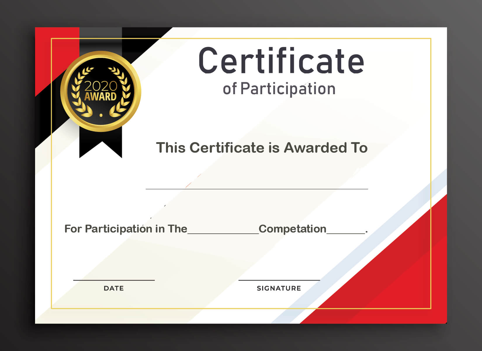 Free Sample Format Of Certificate Of Participation Template Regarding Certificate Of Participation Template Word