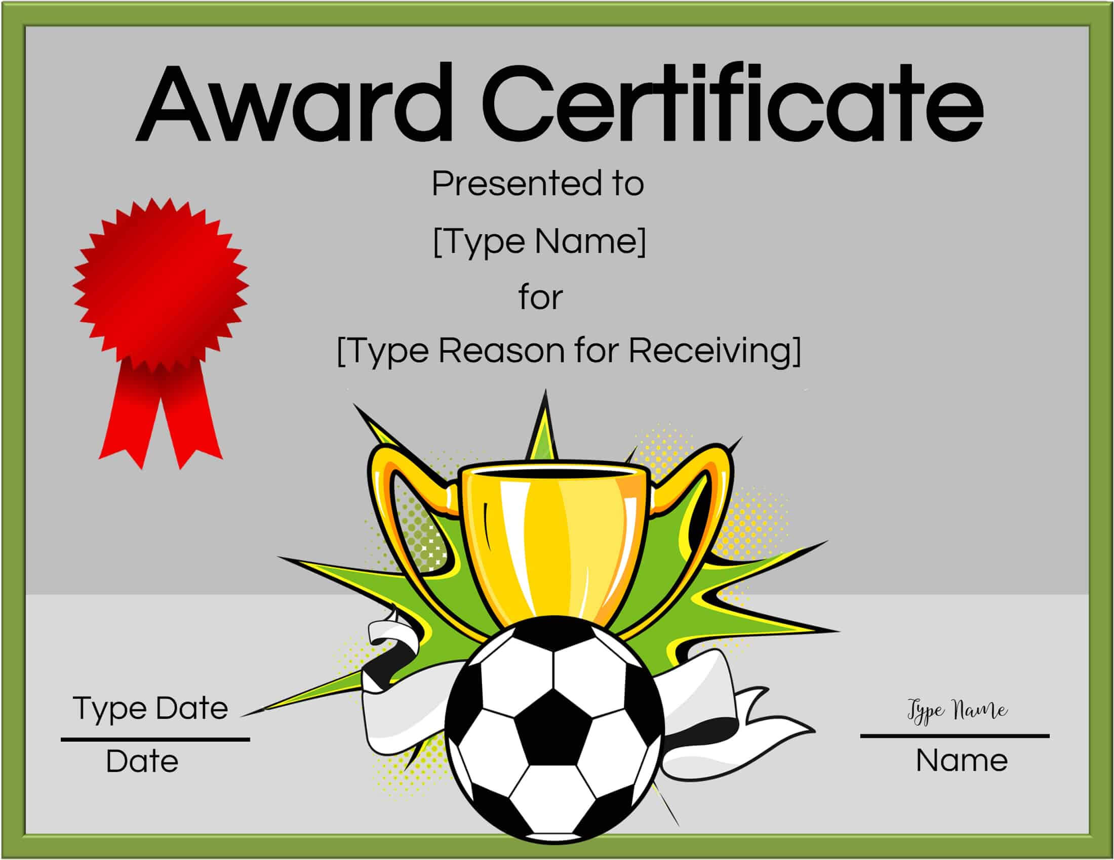 Free Soccer Certificate Maker | Edit Online And Print At Home For Soccer Award Certificate Template