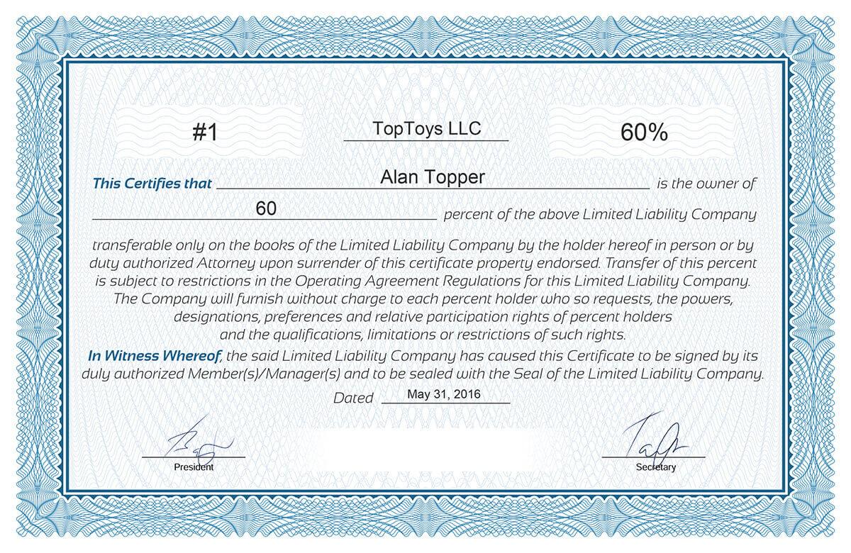 Free Stock Certificate Online Generator With Regard To Llc Membership Certificate Template Word