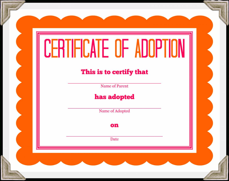 Free Stuffed Animal Adoption Certificate Pet Adoption Inside Pet Adoption Certificate Template