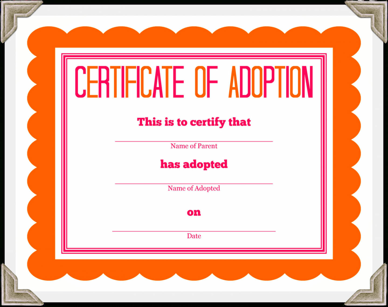 Free Stuffed Animal Adoption Certificate Pet Adoption Pertaining To Blank Adoption Certificate Template