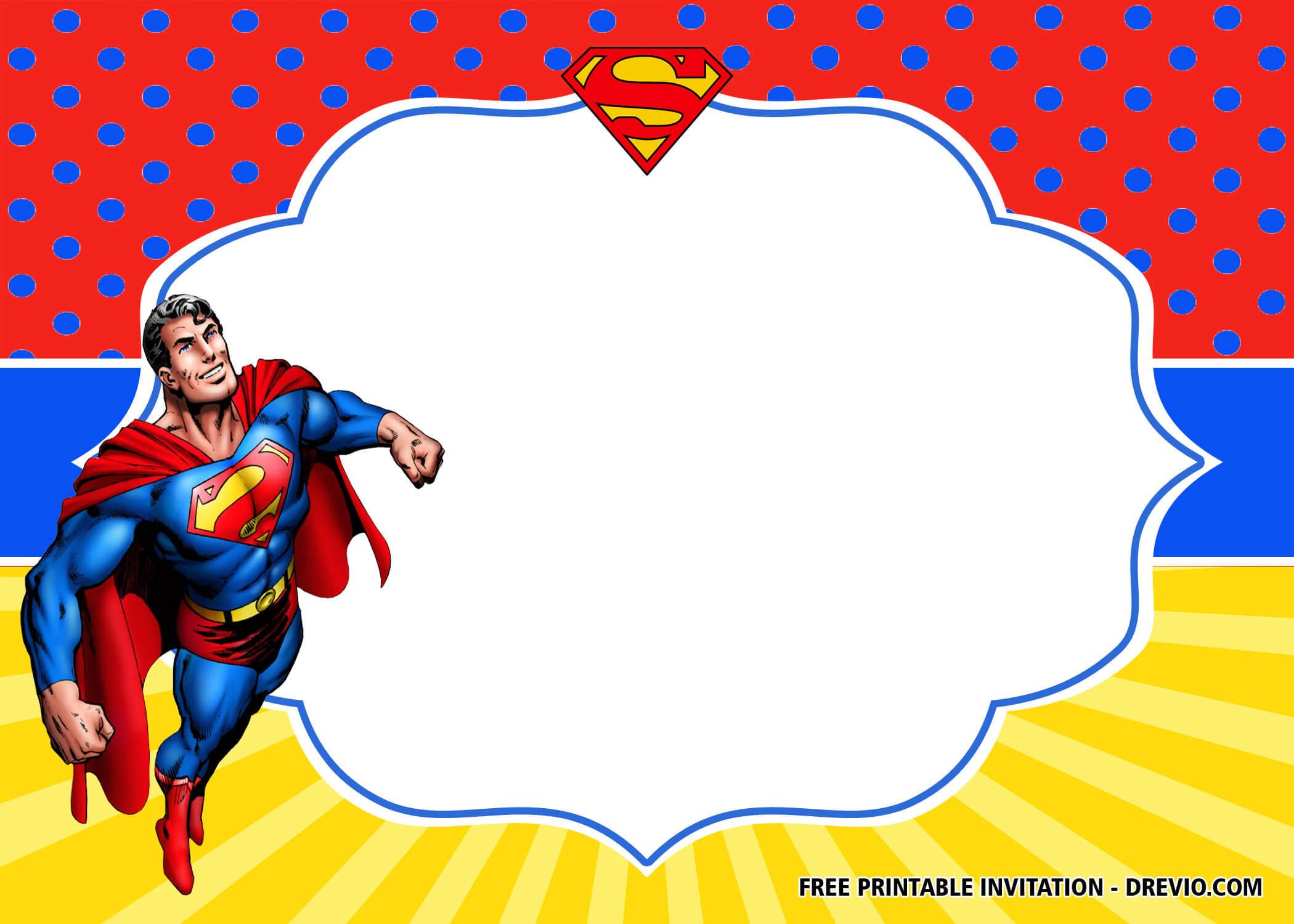 Free Superhero Superman Birthday Invitation Templates – Bagvania In Superman Birthday Card Template