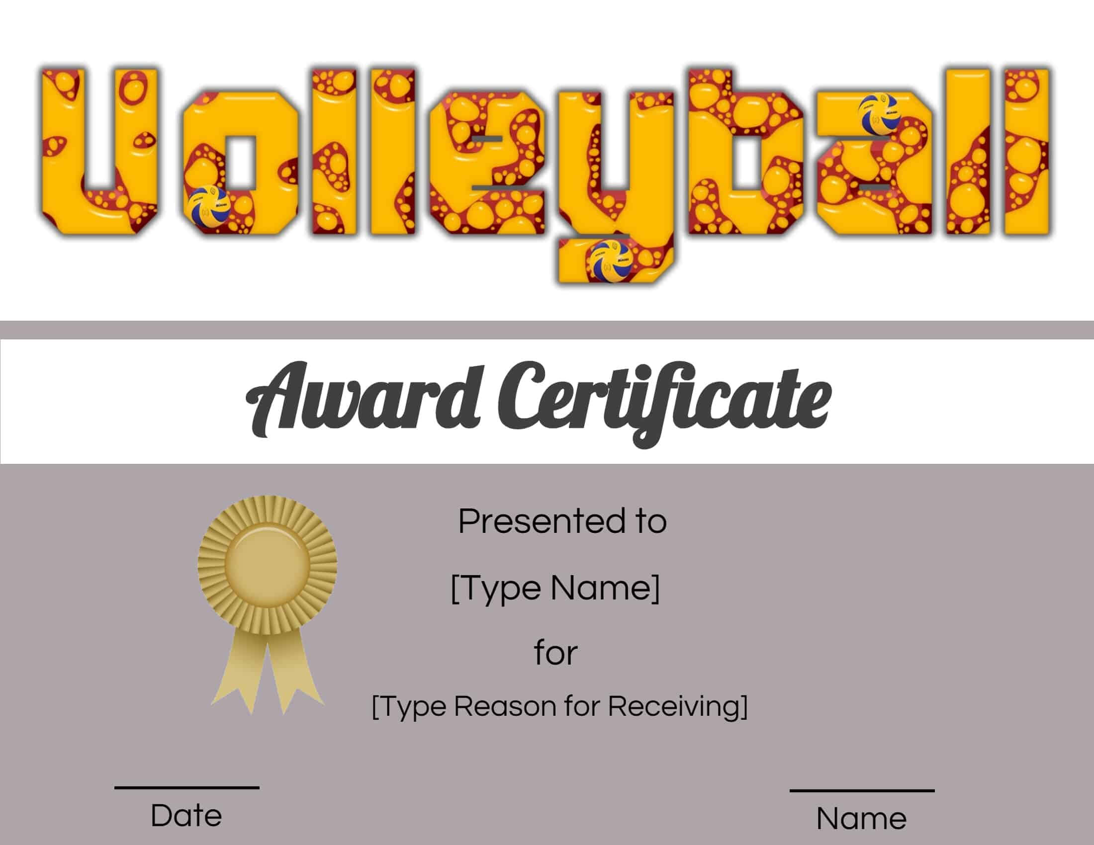 Free Volleyball Certificate | Edit Online And Print At Home Within Rugby League Certificate Templates