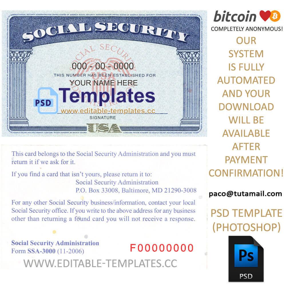 Fully Editable Ssn Usa Psd Template Regarding Editable Social Security Card Template