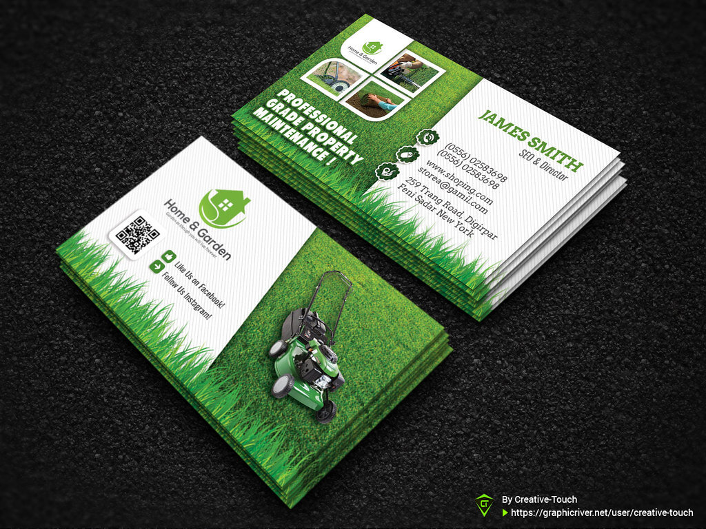 Garden Landscape Business Card Template | Download Here - Gr For Gardening Business Cards Templates