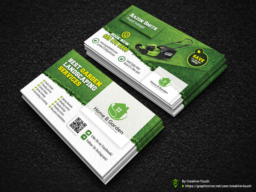 Garden Landscape Business Card Template | Fully Editable Tem Throughout Gardening Business Cards Templates