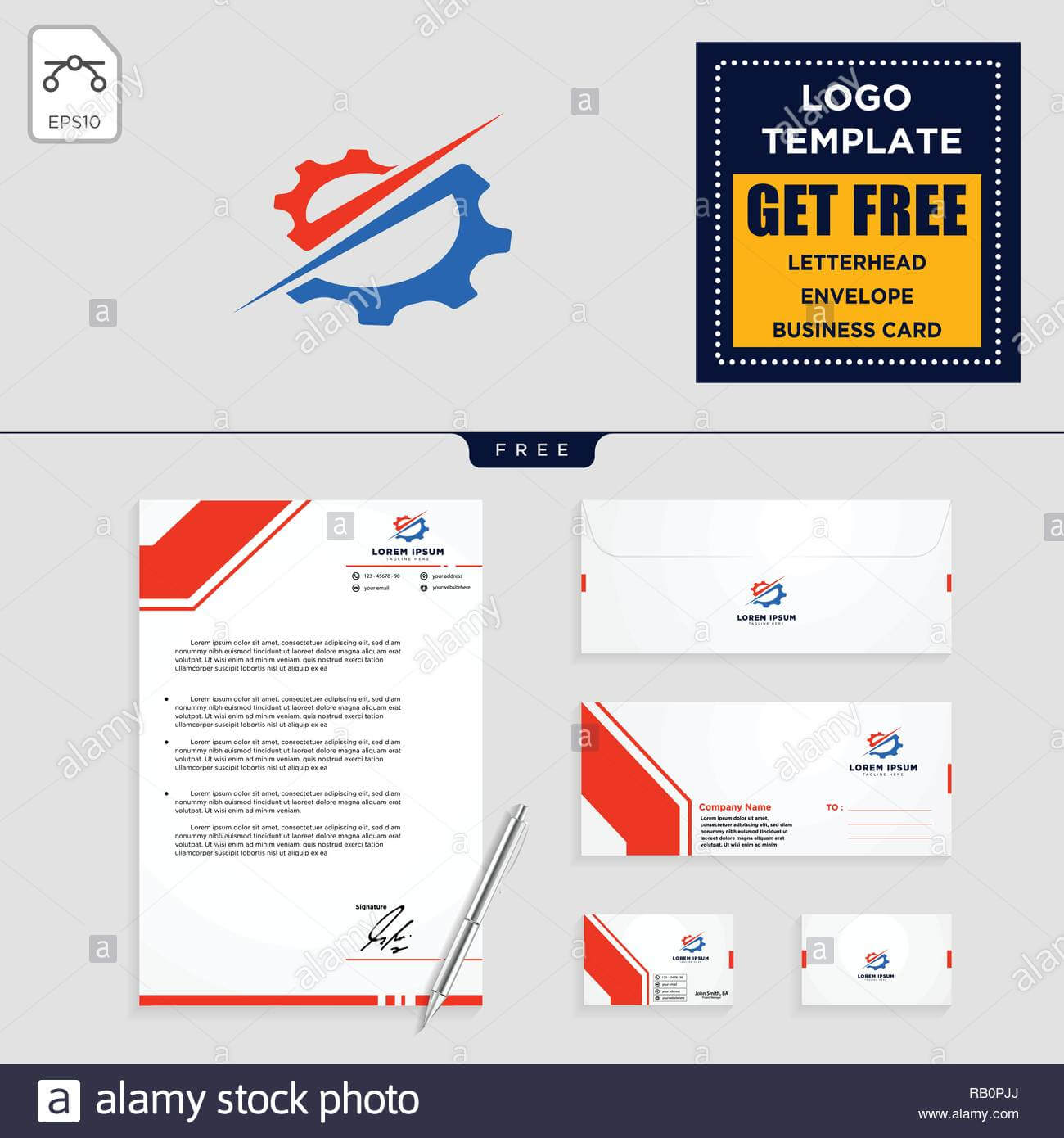 Gear, And Business Chart Logo Template Vector Illustration Throughout Business Card Letterhead Envelope Template
