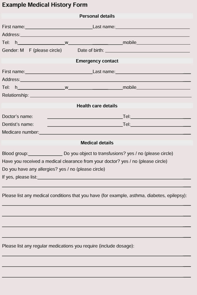General Medical History Forms (100% Free) - [Word, Pdf] For Medical History Template Word