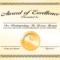 Generic Award Certificate In Vector Format – Trashedgraphics In Generic Certificate Template
