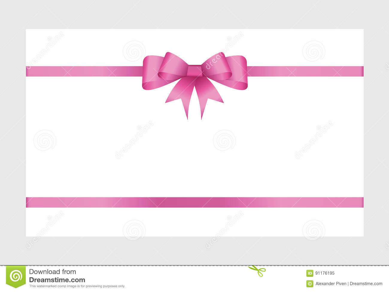 Gift Card With Pink Ribbon And A Bow Stock Vector With Regard To Pink Gift Certificate Template