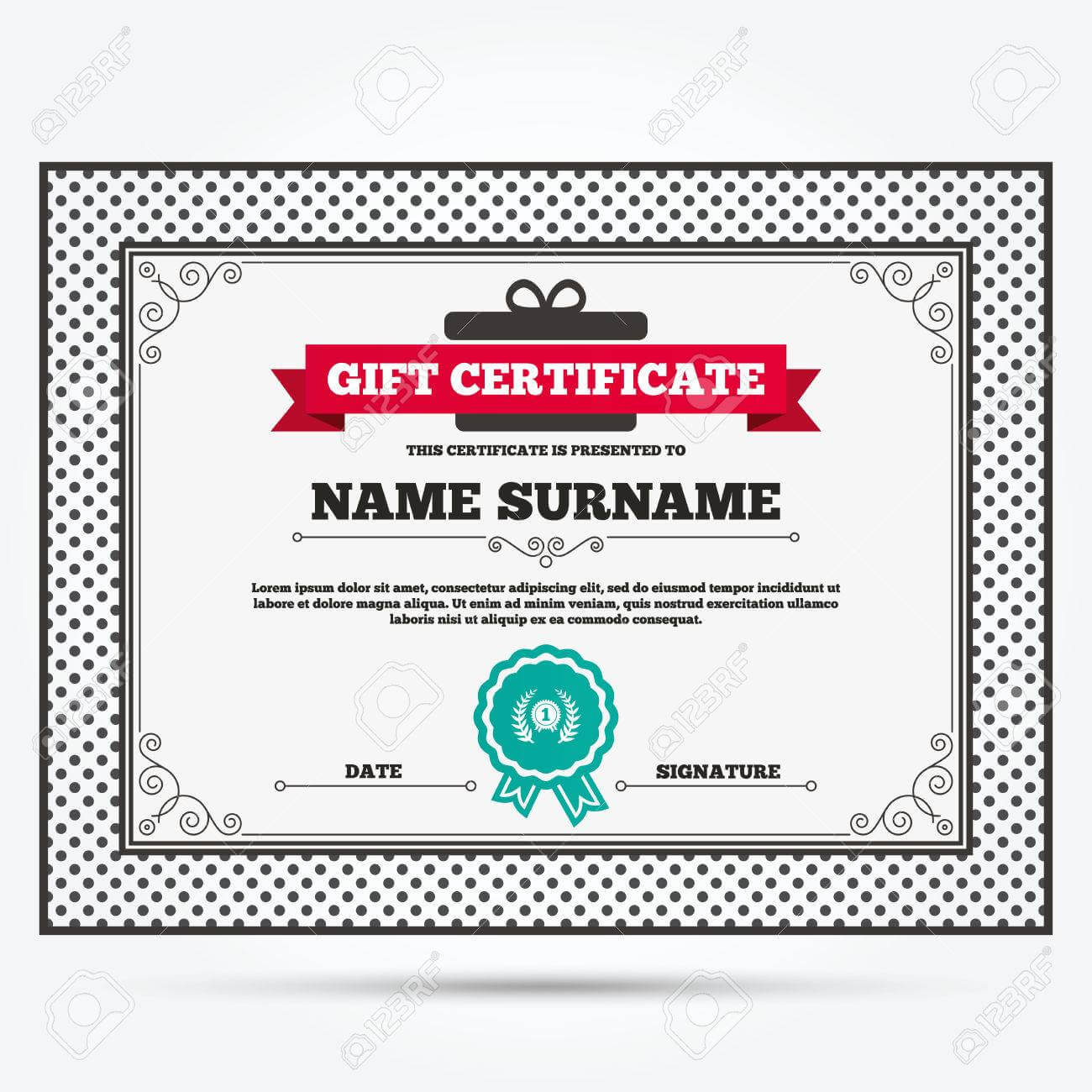 Gift Certificate. First Place Award Sign Icon. Prize For Winner.. Regarding First Place Certificate Template