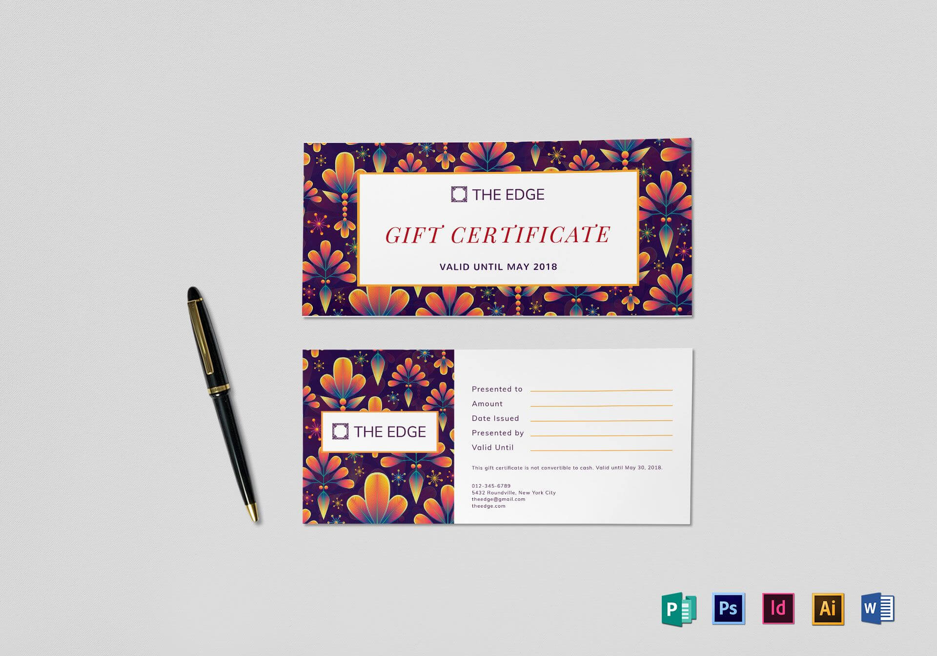 Gift Certificate Template Inside Gift Certificate Template Indesign