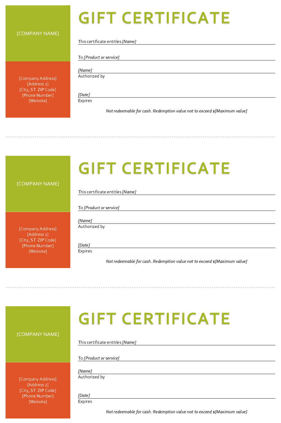 Gift Certificate Template - Sample Gift Certificate Inside Company Gift Certificate Template