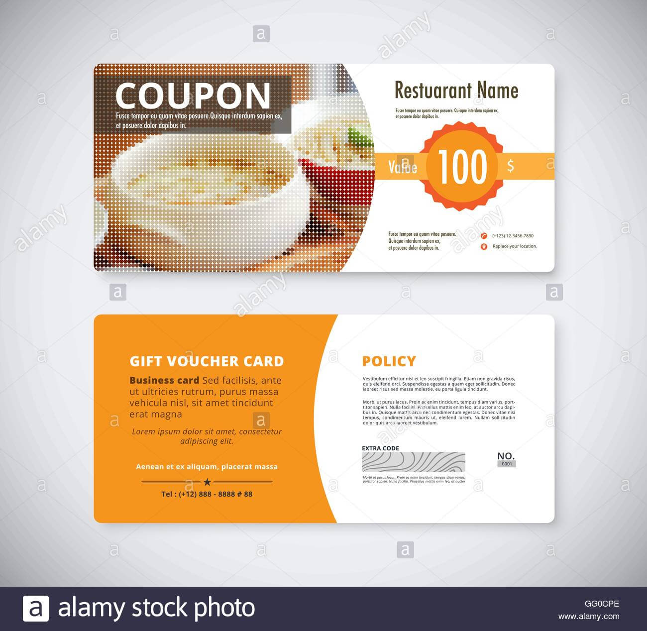 Gift Coupon Voucher Template For Restaurant. Flyer Brochure With Regard To Restaurant Gift Certificate Template