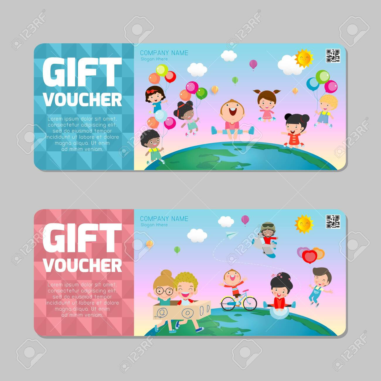 Gift Voucher Template With Colorful Pattern,cute Gift Voucher.. Inside Kids Gift Certificate Template