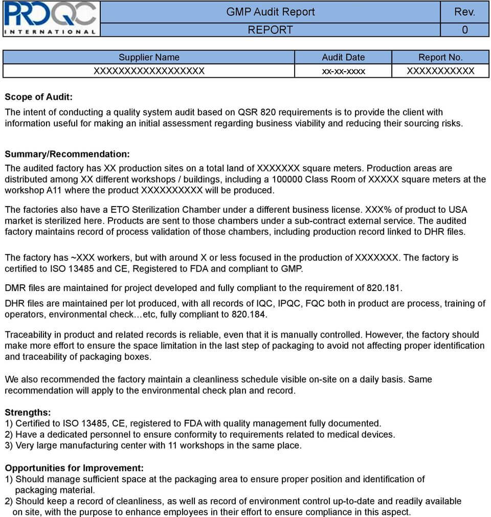 Gmp Audit Report. * Example Report * - Pdf Free Download Within Gmp Audit Report Template