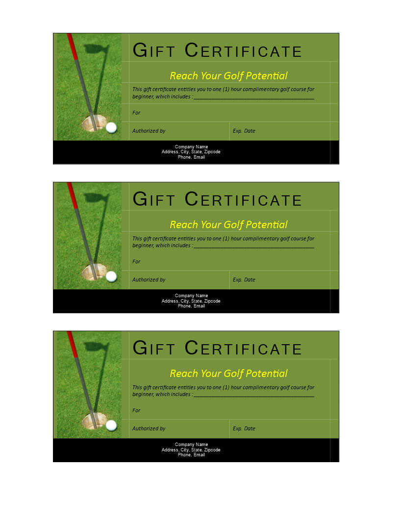 Golf Gift Non Cash Value Voucher | Templates At Intended For Golf Gift Certificate Template