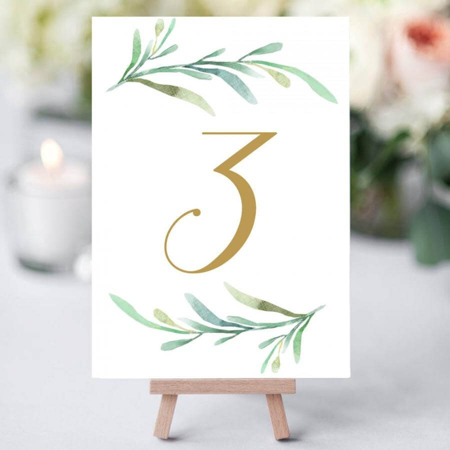 Greenery Wedding Table Numbers Template, Printable Reception Inside Table Number Cards Template
